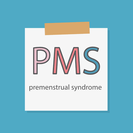 PMS Premenstrual Syndrome written in a notebook paper- vector illustration