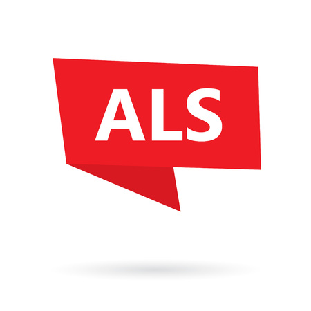 ALS (Amyotrophic Lateral Sclerosis) on a speach bubble- vector illustration