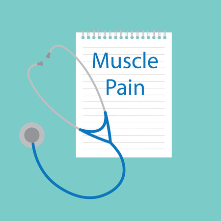 muscle pain written in a notebook- vector illustration Illusztráció