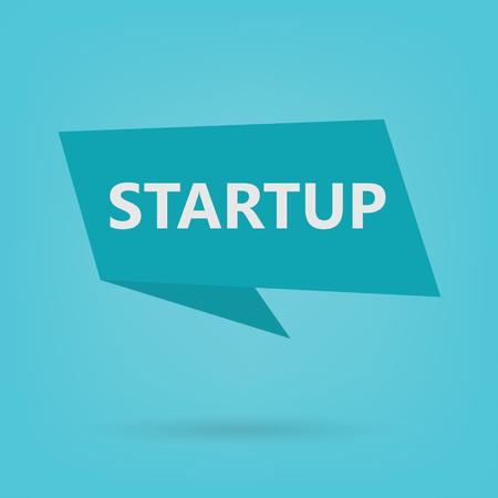startup word on sticker- vector illustration Иллюстрация