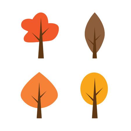 autumn trees icons- vector illustration  イラスト・ベクター素材