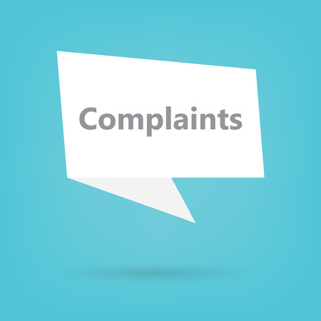 complaints word on a speech bubble- vector illustration Stockfoto - 107308616