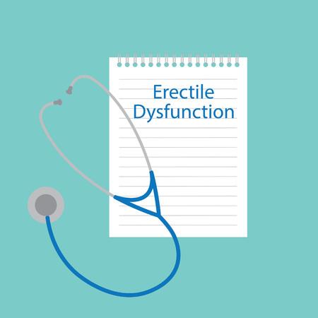 Erectile dysfunction written in a notebook- vector illustration Ilustracja