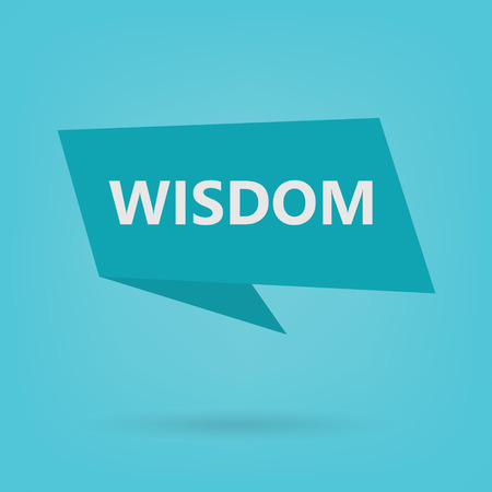 wisdom word on sticker- vector illustration Çizim