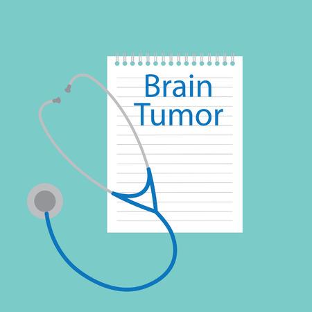 Brain tumor written in a notebook- vector illustration