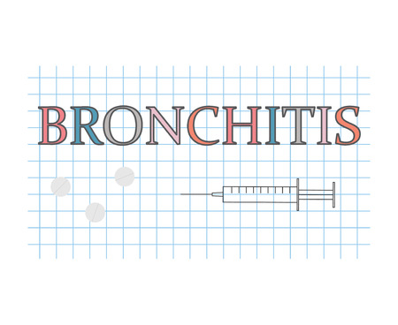 Bronchitis word on checkered paper sheet- vector illustration