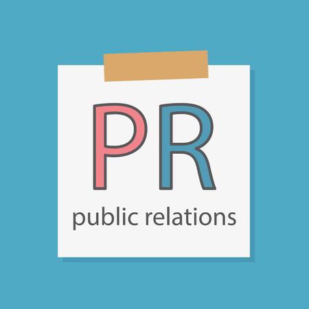 PR Public Relations geschrieben in einem Notizbuch Papier-Vektor-Illustration