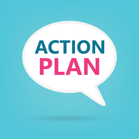 action plan on a speech bubble- vector illustration Stock Illustratie