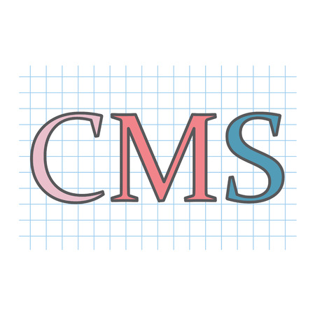 CMS (Content Management System) written on checkered paper sheet Illustration