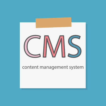 CMS Content Management System written in a notebook paper- vector illustration
