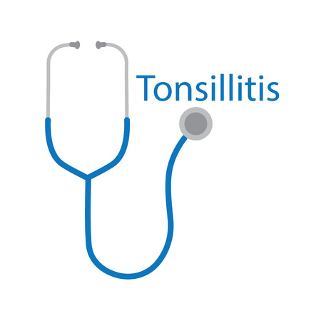 Tonsillitis word and stethoscope icon- vector illustration