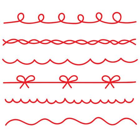 red string ribbons set- vector illustration
