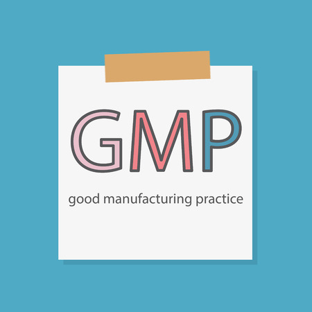 GMP Good Manufacturing Practice written in a notebook paper- vector illustration