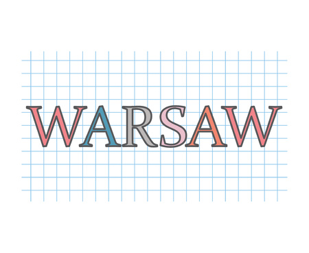 Warsaw on checkered paper texture- vector illustration