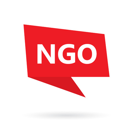 NGO (Non-Governmental Organization) on a speach bubble- vector illustration