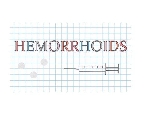 Hemorrhoids word on checkered paper sheet - vector illustration