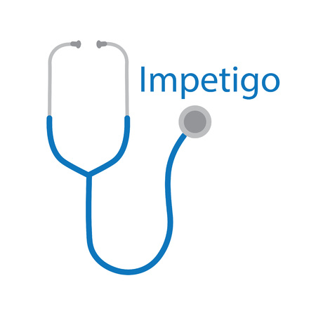 Impetigo word and stethoscope icon - vector illustration Illustration