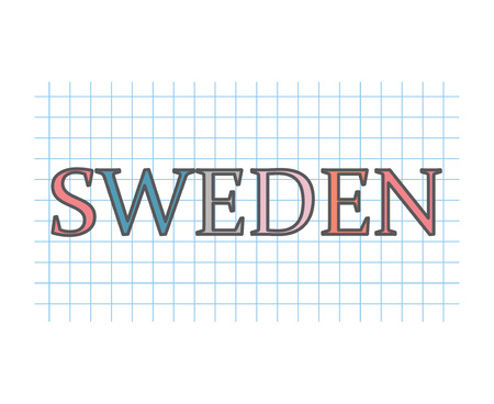 Sweden on checkered paper texture- vector illustration Ilustração