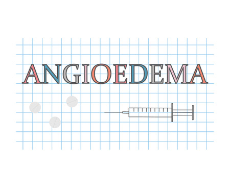 Angioedema word on checkered paper sheet- vector illustration
