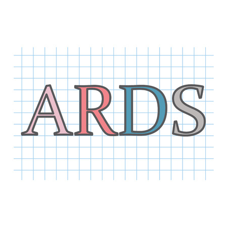 ARDS (Acute Respiratory Distress Syndrome) acronym written on checkered paper texture