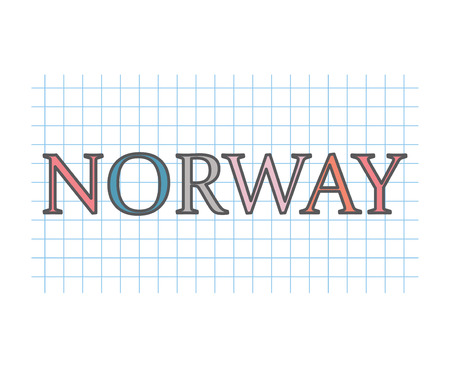 Norway on checkered paper texture- vector illustration