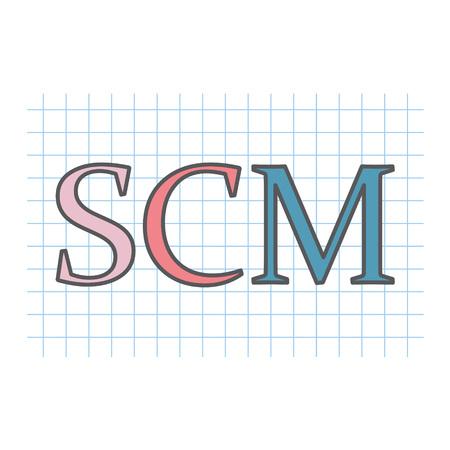 SCM (Supply chain management) acronym written on checkered paper sheet- vector illustration Illustration