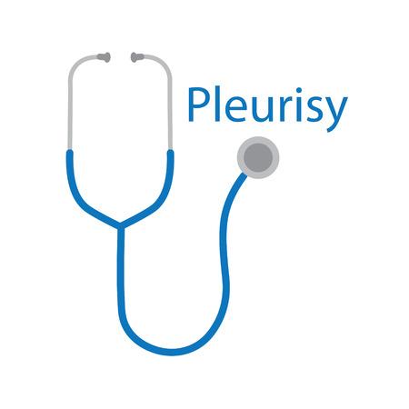 Pleurisy word and stethoscope icon- vector illustration