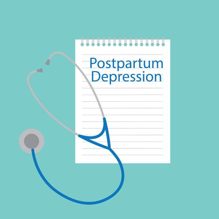 Postpartum depression written in a notebook- vector illustration