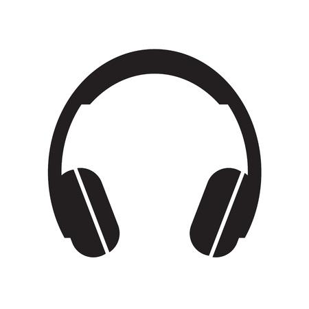 icône de casque noir - illustration vectorielle