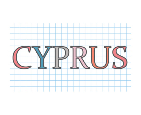 Cyprus on checkered paper texture- vector illustration Ilustracja