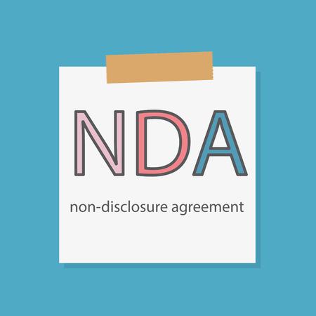 NDA Non-Disclosure Agreement virus written in a notebook paper- vector illustration