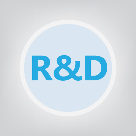 R & D (Research and development) acronym- vector illustration