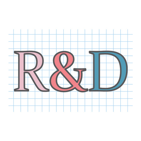 R & D (Research and development) acronym written on checkered paper sheet- vector illustration