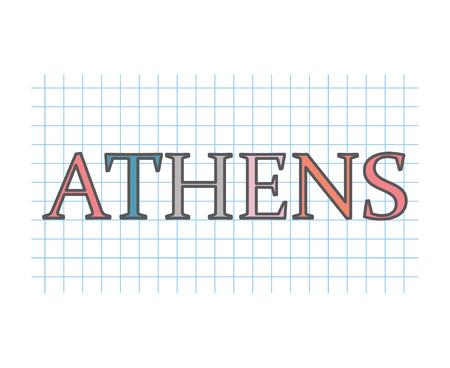 Athens on checkered paper texture- vector illustration Archivio Fotografico - 109654554