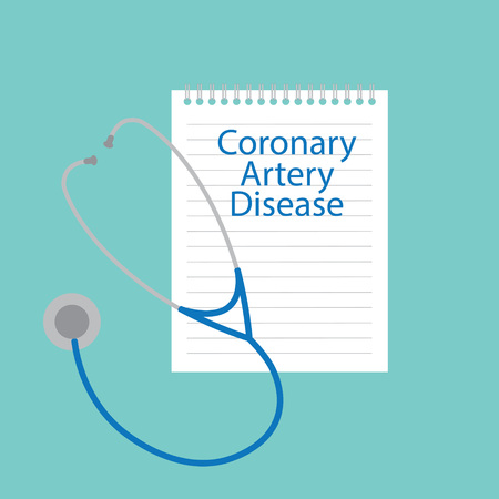 Coronary artery disease written in a notebook- vector illustration
