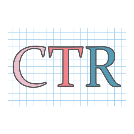 CTR (Click-through rate) acronym written on checkered paper sheet- vector illustration