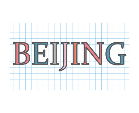 Beijing on checkered paper texture- vector illustration