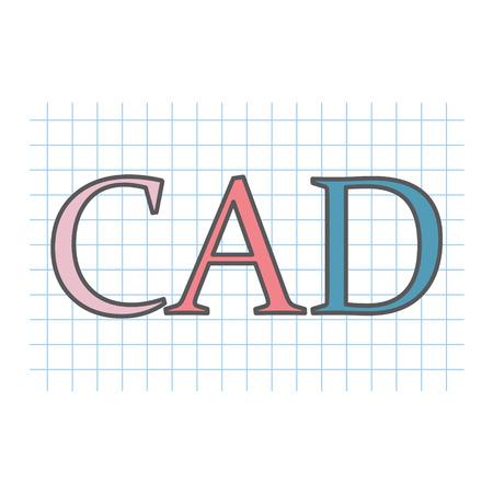 Acronyme de CAO (conception assistée par ordinateur) écrit sur une feuille de papier à carreaux - illustration vectorielle