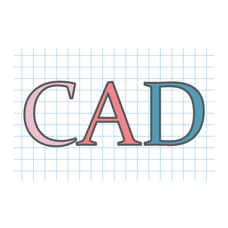 CAD (Computer-aided design) acronym written on checkered paper sheet- vector illustration