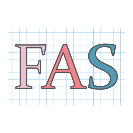 FAS (fetal alcohol syndrome) acronym written on checkered paper sheet- vector illustration