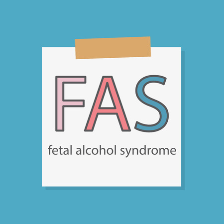 FAS fetal alcohol syndrome written in a notebook paper- vector illustration Illustration