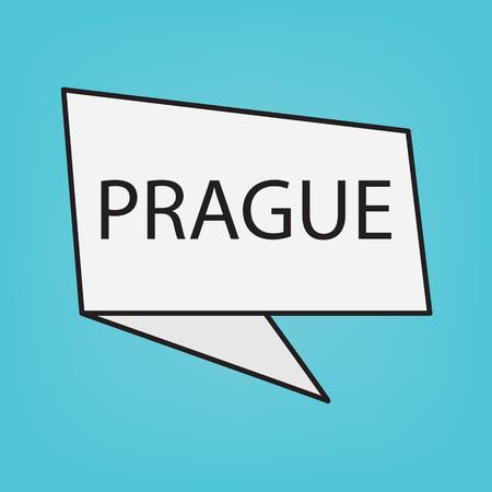Prague word on a sticker- vector illustration