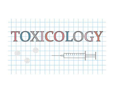 toxicology word on checkered paper sheet- vector illustration Illustration