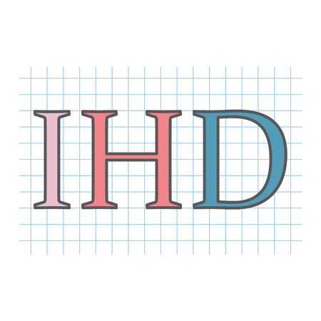 IHD (ischemic heart disease) acronym written on checkered paper sheet- vector illustration