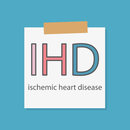 IHD ischemic heart disease rate written in a notebook paper- vector illustration