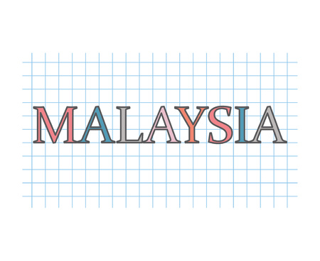 Malaysia on checkered paper texture- vector illustration