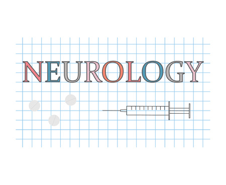 Neurology word on checkered paper sheet- vector illustration