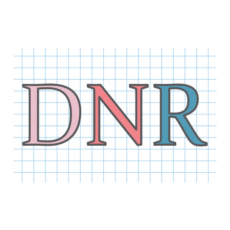 DNR (Do Not Resuscitate) acronym written on checkered paper sheet- vector illustration Vettoriali