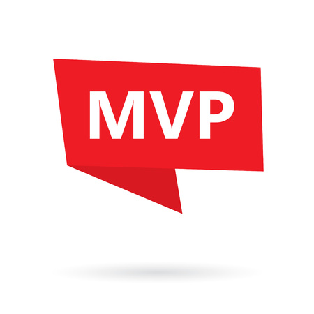 MVP (minimum viable product) acronym on a sticker- vector illustration Ilustração