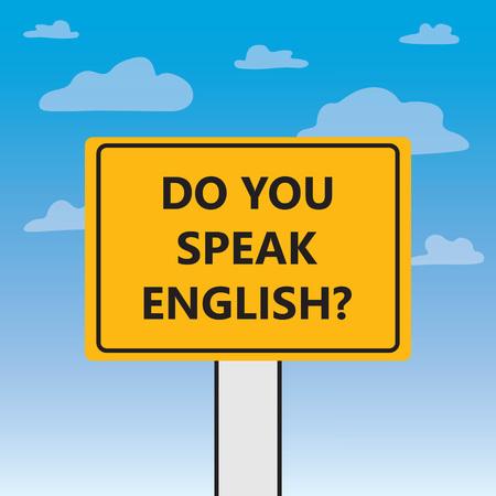do you speak english written on a billboard- vector illustration